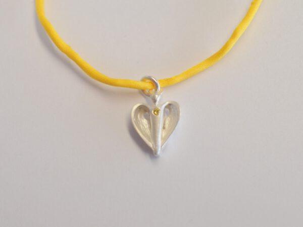 Schutzengel Silber mit gelbem Diamant