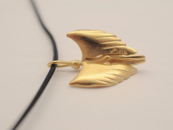 Schutzengel Modell 2013 aus Silber vergoldet Rückseite