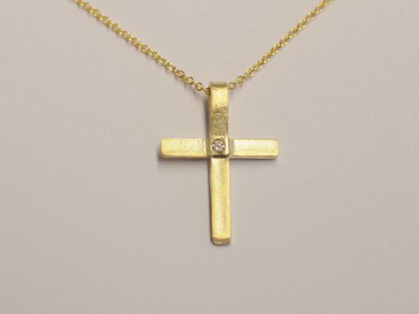 Kleines Kreuz aus 585 Gelbgold mit Diamant
