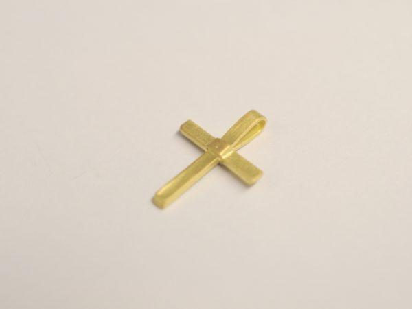 Kreuz Anhänger zur Taufe aus 750 Gelbgold