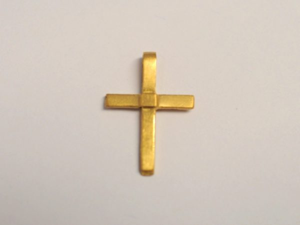 Kreuz Anhänger zur Taufe aus 900 Gelbgold