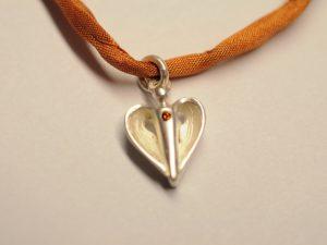 Silber Schutzengel Anhänger mit orangenem Diamant