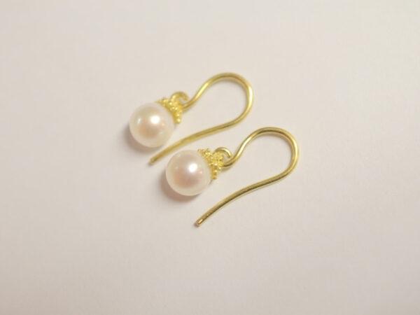 Ohrhänger Gelbgold mit Süßwasserperle