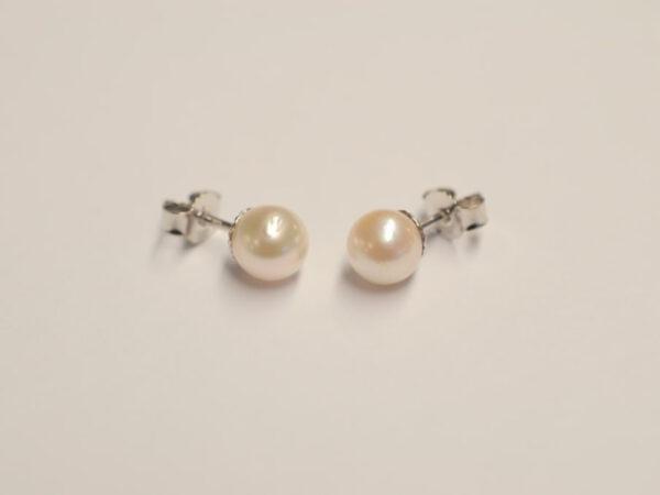 Perlen-Ohrstecker Weißgold