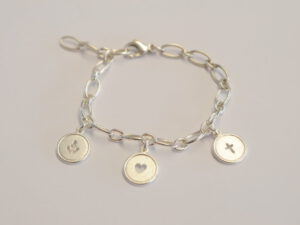 Gliederarmband aus Silber Glaube-Liebe-Hoffnung