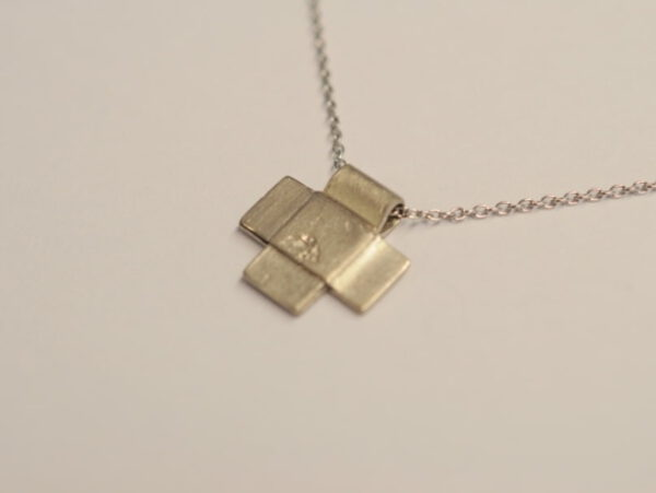 Kreuz Anhänger aus 585 Weißgold
