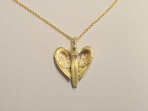Schutzengel aus Gold - Anhänger 585 Gelbgold mit Diamant