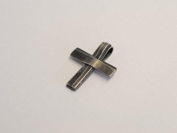Kreuz Anhänger aus geschwärztem Silber - Unikat v17