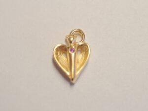 kleiner Schutzengel Anhänger mit rosa Diamant