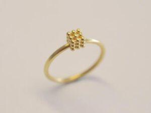 Kugelring Symbol Würfel aus 750 Gelbgold